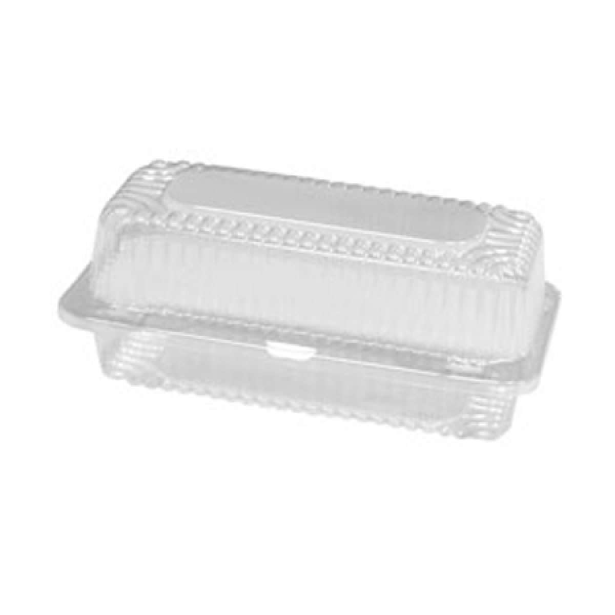 clear rectangular plastic container with hinged dome lid  163*116*55