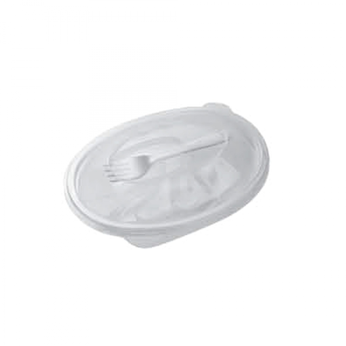 oval hinged container with spork 190*140*60