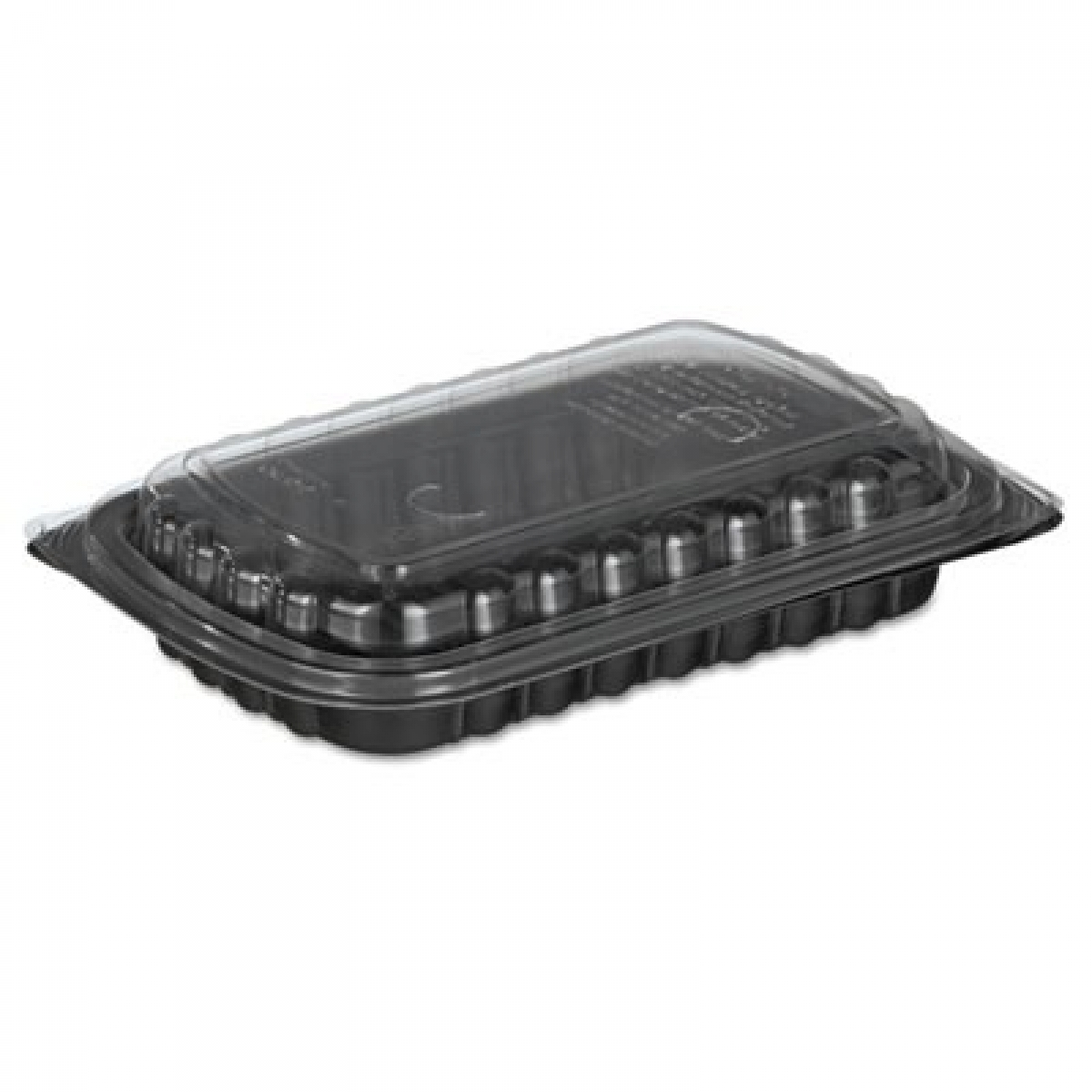 Deli Cont.(Red/Blk)w/ clear ribbed lid 650mL