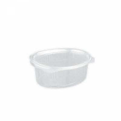 oval clear hinged container with lid