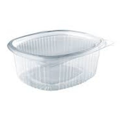 clear oval hinged container