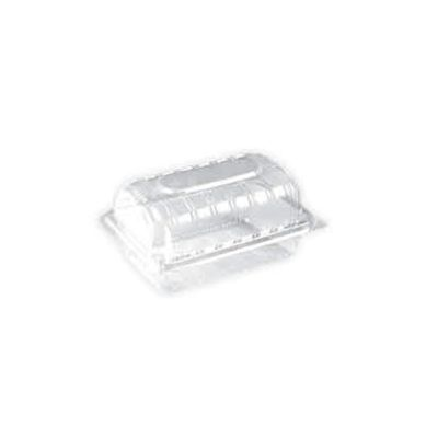 clear rectangular plastic container with hinged dom lid